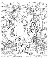 Сказочная лошадка единорог фентези Скачать сложные раскраски