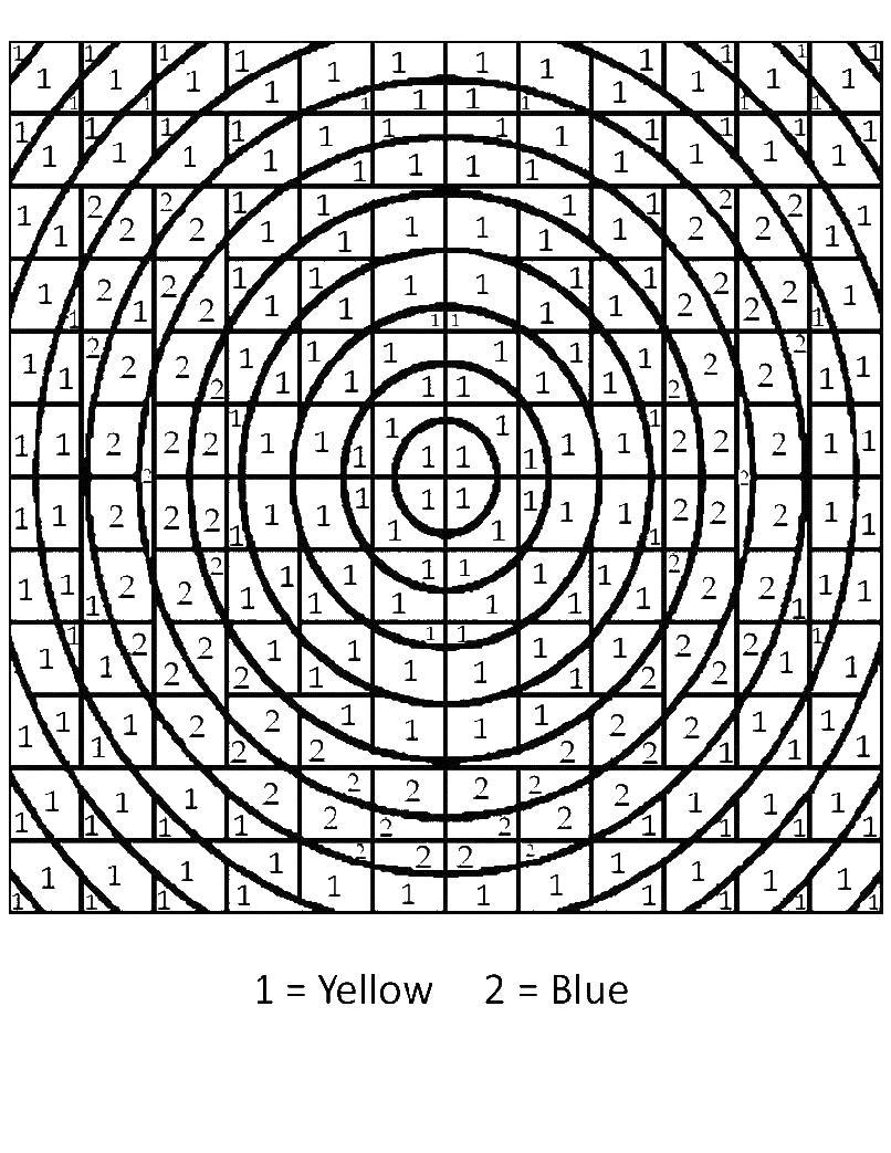 Раскрась по цветам концентрические круги Скачать сложные раскраски