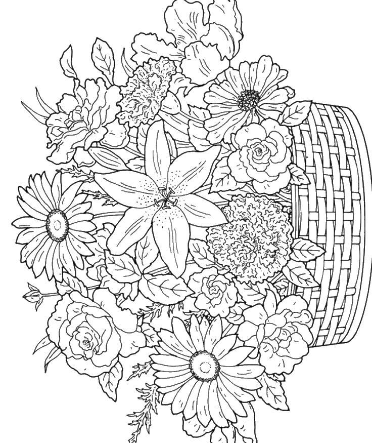Раскраска цветы антистресс