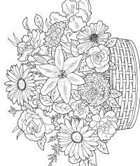 Корзина с цветами Раскраски для взрослых скачать