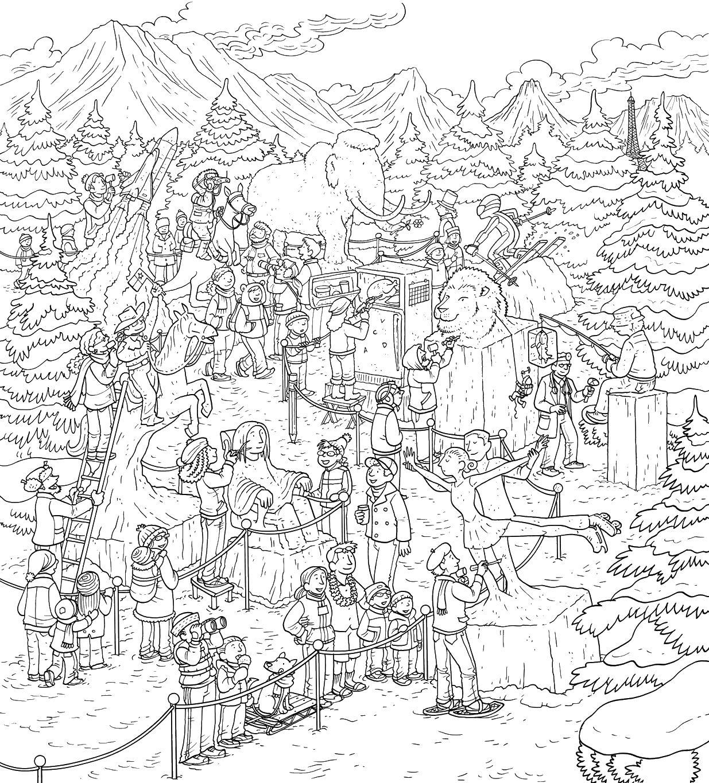 Город в лесу Раскраски для взрослых скачать