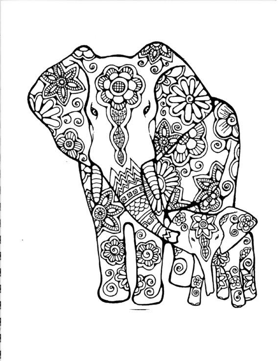 Слониха со слоненком Раскраски антистресс бесплатно