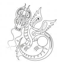 Дракон с усами и крыльями Раскраски для взрослых скачать
