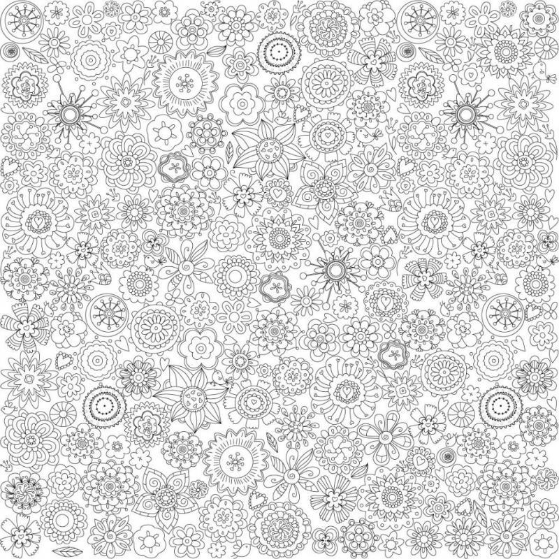 Узоры из цветов Картинки антистресс раскраски