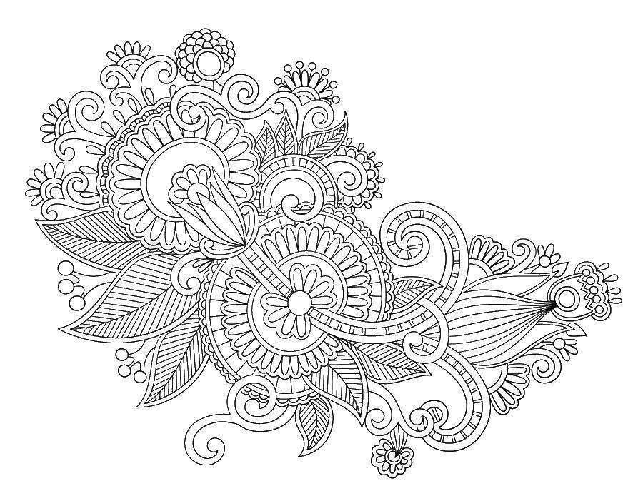 Несимметричные узоры из цветов Картинки антистресс раскраски