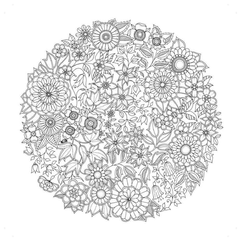 Круглый узор из цветов Картинки антистресс раскраски