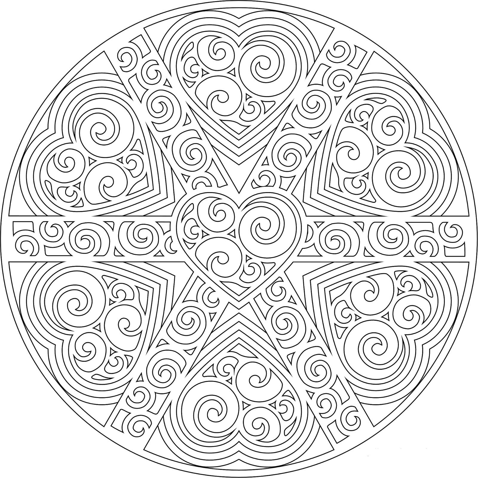 Узоры из сердечек в круге Раскраски для взрослых антистресс