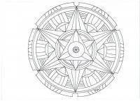Сложные узоры со звездой в центре, в круге Раскраски для взрослых антистресс