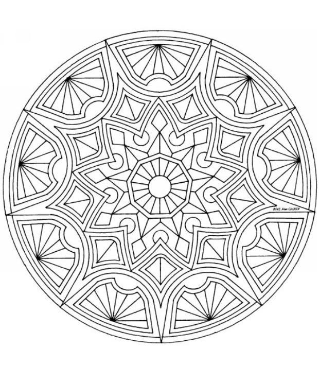 Геометрические узоры в круге Раскраски для взрослых антистресс
