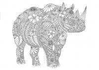 Носорог Раскраски антистресс бесплатно