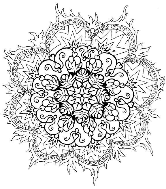 Цветок в огне Раскраски для взрослых антистресс