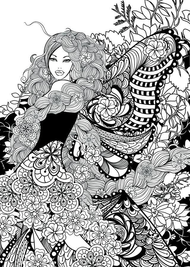 Фея, девушка с косами в цветах Раскраски для снятия стресса