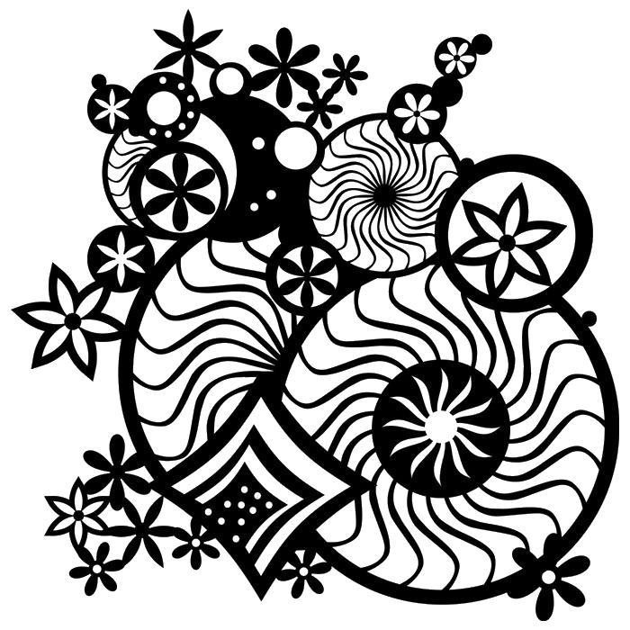 Круги и цветы Картинки антистресс раскраски