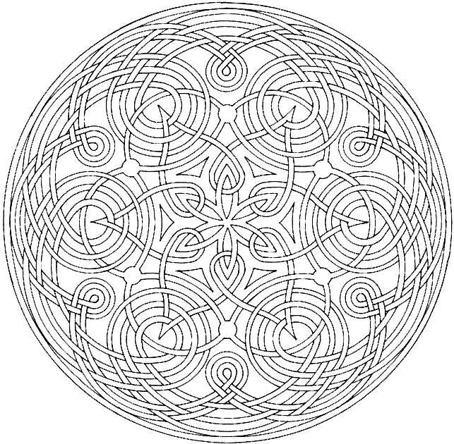 Круглый узор, цветок с остроконечными лепестками Раскраски для взрослых антистресс
