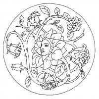 Цветок с лицом девушки, роза с шипами в круге Раскраски для взрослых антистресс