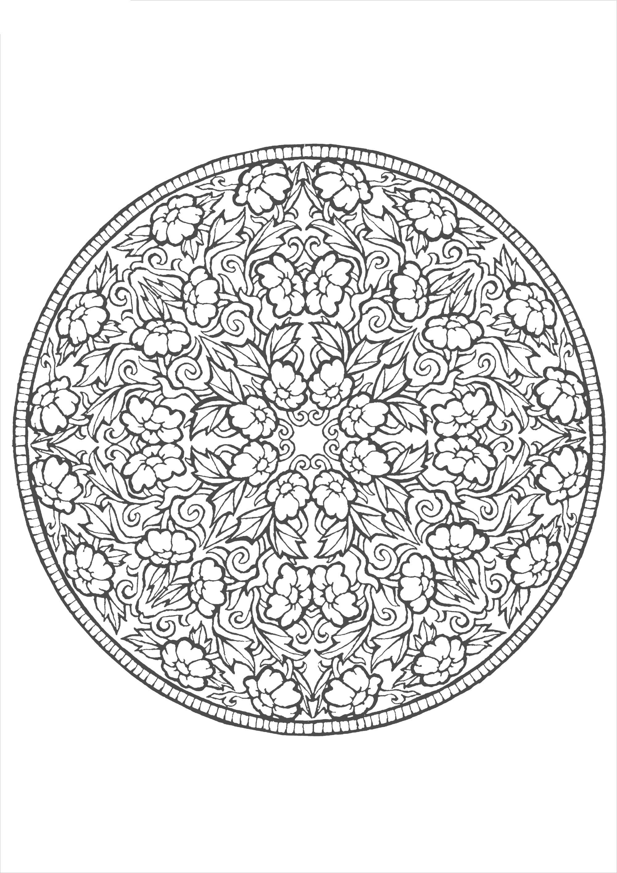 Цветы и листья в круглом узоре Раскраски для взрослых антистресс