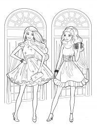 Девушки в красивых платьях Раскраски для снятия стресса