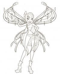 Фея с красивыми крыльями Раскраски для снятия стресса