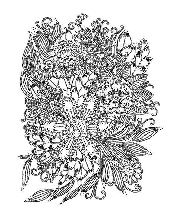 Сложный узор из цветов Скачать сложные раскраски