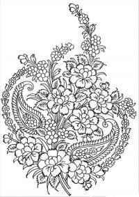 Цветы в красивом узоре Скачать сложные раскраски