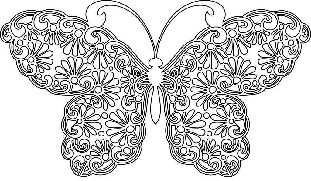 Бабочка с цветочным узором Картинки антистресс раскраски