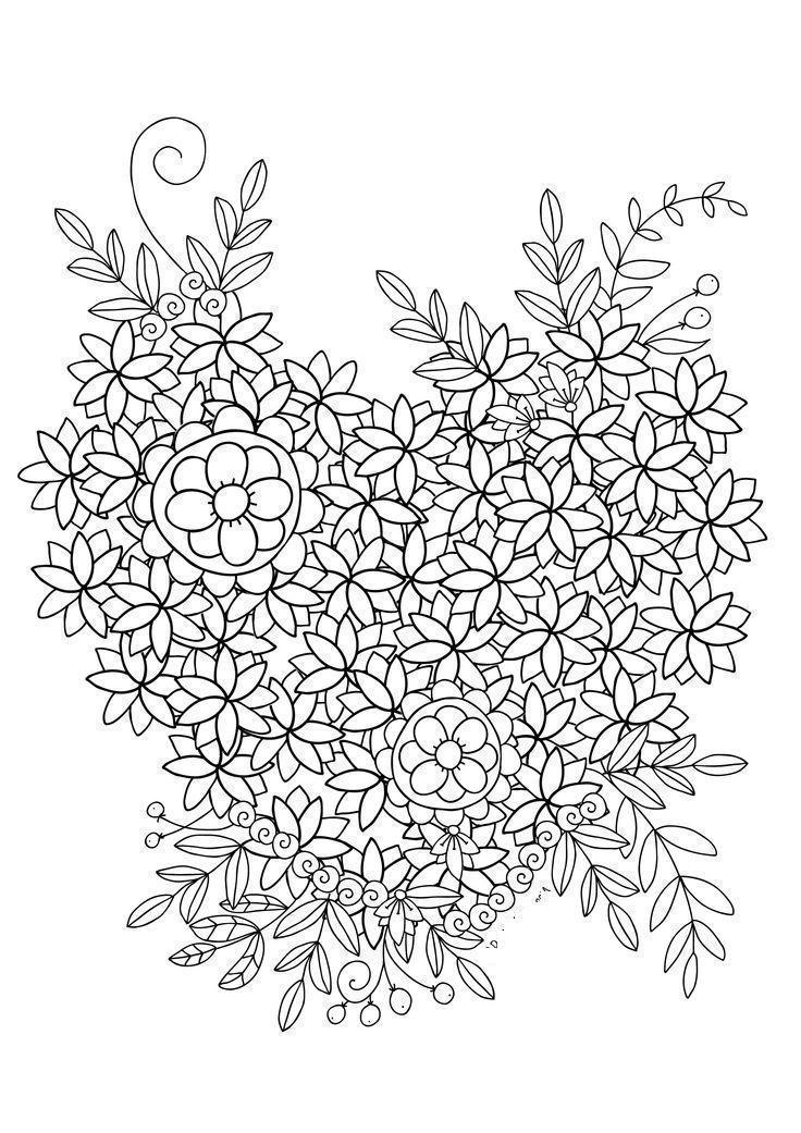 Цветы в сердце Скачать сложные раскраски