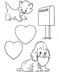 Котенок и щенок с сердечками Раскраски антистресс бесплатно