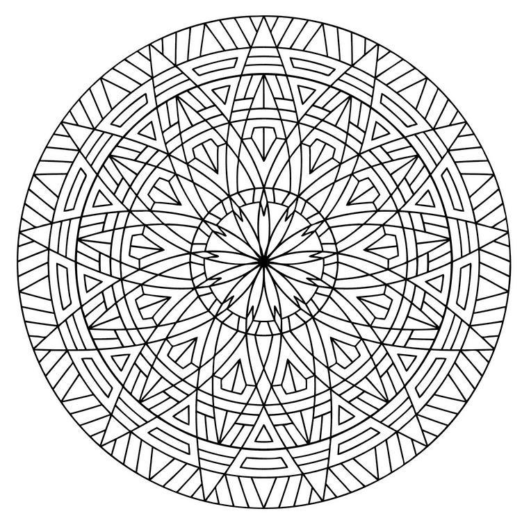 Круг с симметричным узором Раскраски для взрослых скачать