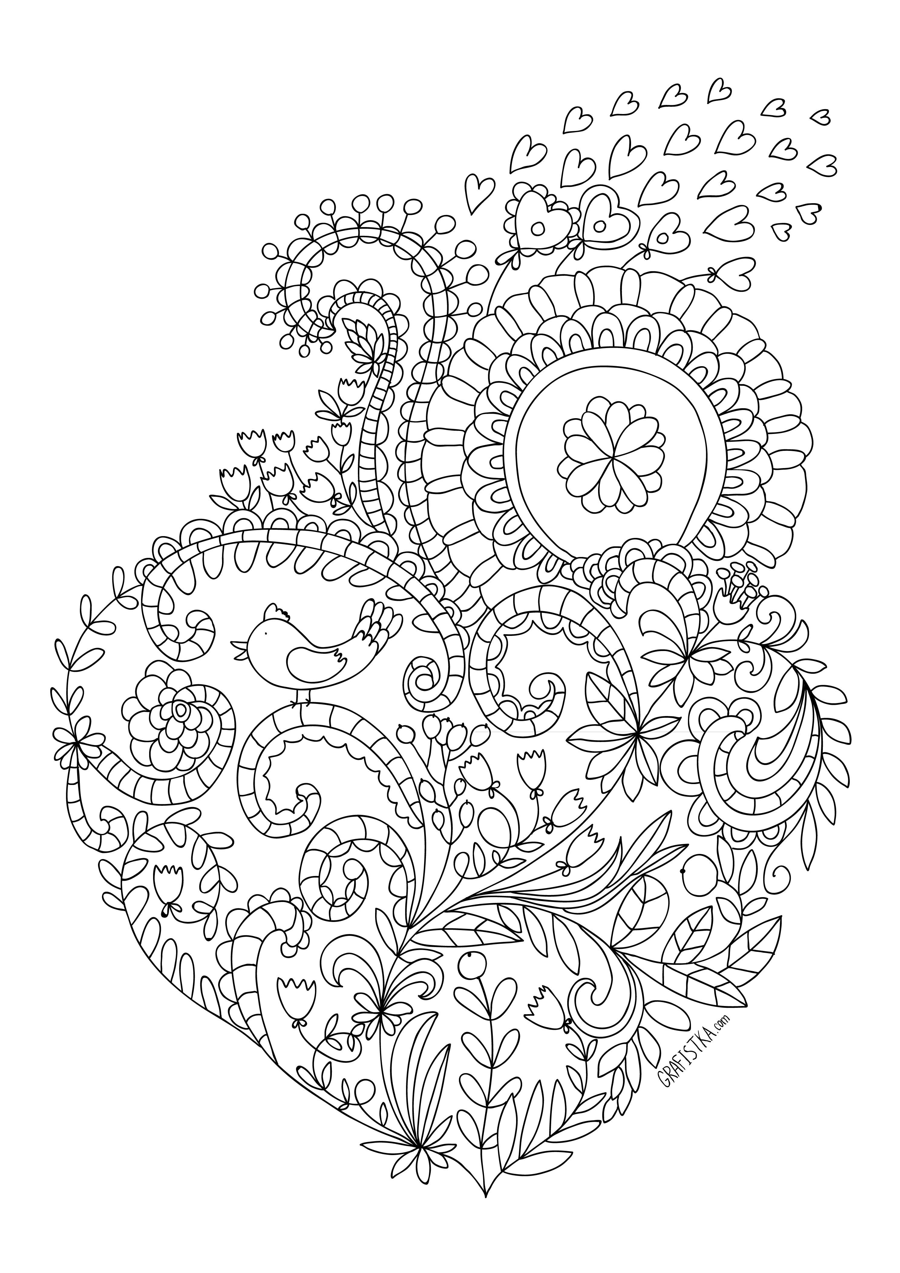 Много сердечке и цветов Раскраски для снятия стресса