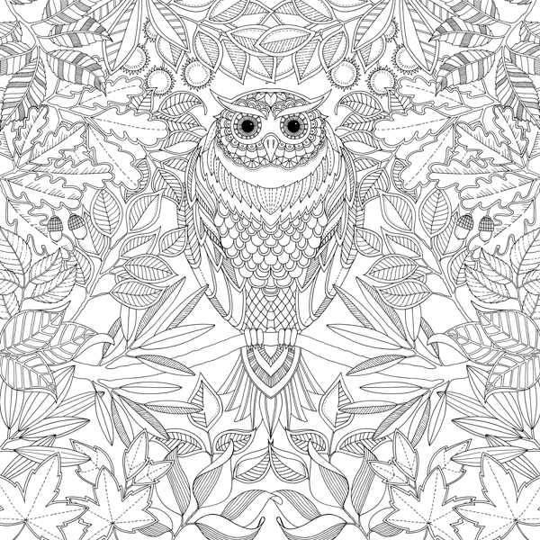 Сова в листве Антистрессовые раскраски