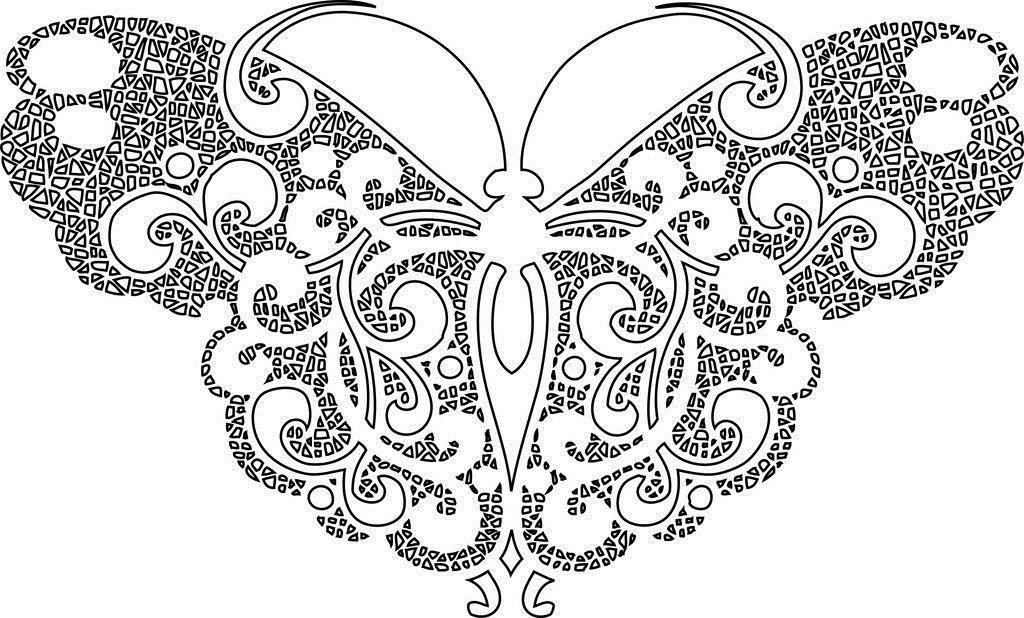 Бабочка из геометрических фигур Антистрессовые раскраски