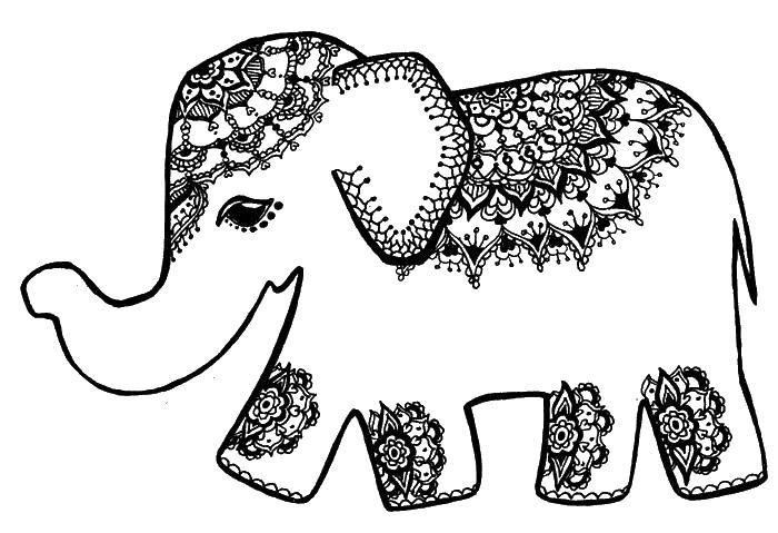 Индийский слон Скачать сложные раскраски