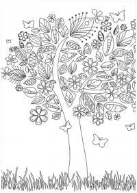 Дерево с бабочками Скачать сложные раскраски