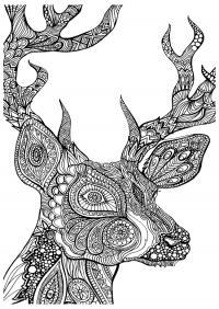 Узорный олень Раскраски для взрослых скачать