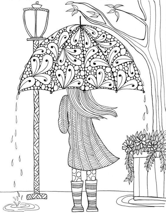 Девушка идет по улице под зонтом под светом фонаря Раскраски для взрослых скачать