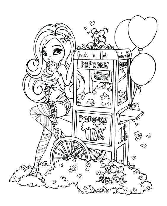 Девочка занимается бизнесом и продет попкорн и ест мороженое Раскраски для взрослых скачать
