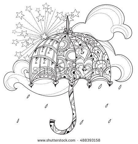 Красивый зонт Раскраски для взрослых скачать