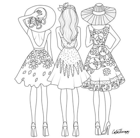 три платья на выбор мода медитативная раскраска
