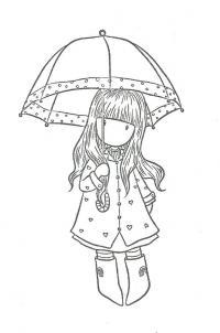 Девушка под зонтом Раскраски для взрослых скачать