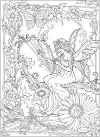 Фея сидит в лесу Раскраски для взрослых скачать