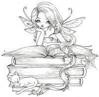 Фея читает книгу с заклинаниями и рядом спит котик Раскраски для взрослых антистресс