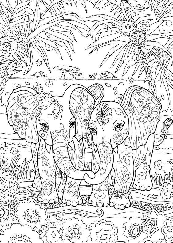 Слоны в индии в узорах среди пальм Раскраски для взрослых скачать