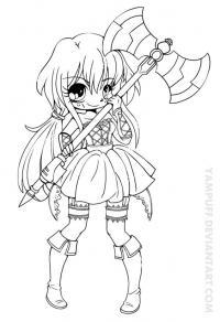 Анимешная девочка с оружием Раскраски для взрослых скачать