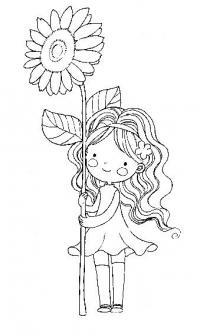 Девочка около подсолнуха Раскраски для взрослых скачать