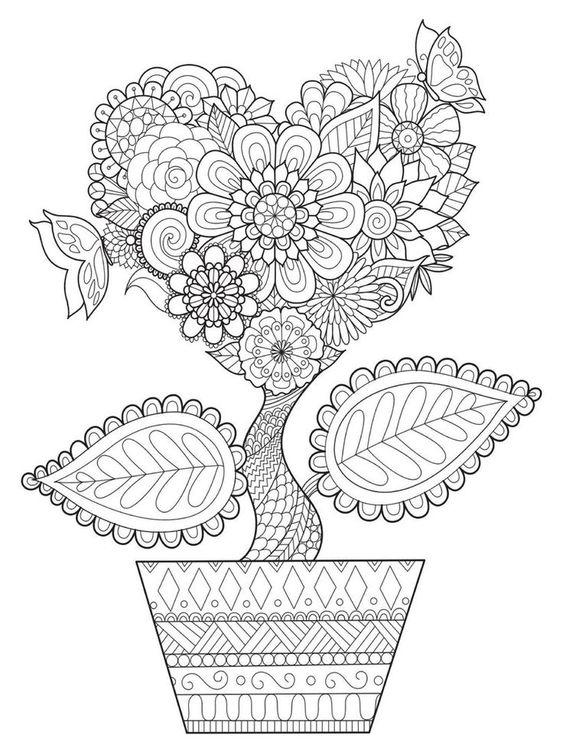 Цветок с узорами в горшке Раскраски для взрослых скачать