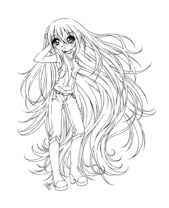 Анимешная девочка с длинными волосами Раскраски для взрослых скачать