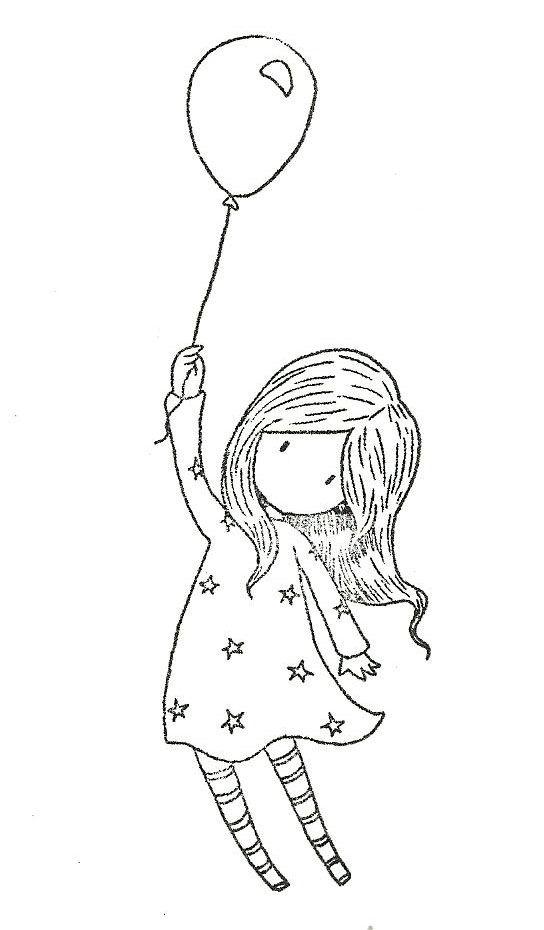 Девочка с шаром Раскраски для взрослых скачать