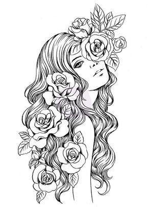 Девушка с розами в волосах Раскраски для снятия стресса