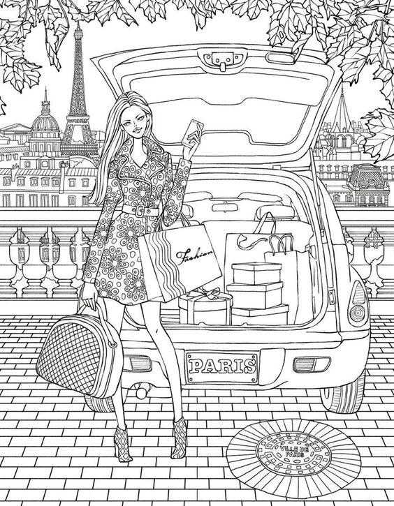 Модница в париже на шоппинге Раскраски для взрослых антистресс