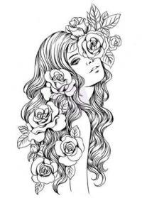 Девушка с розами в волосах Раскраски для взрослых скачать